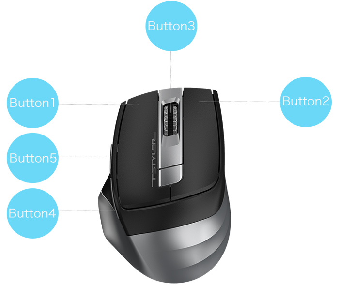 Scroll Wheel Wireless A4tech Co. 2000 Dpi S Usb Black Radio Frequency Holeless Engine - Symmetrical Product Category: Input Devices//Pointing Devices 5 Button A4tech 5 Button Usb Wireless Optical Mouse Via Ergoguys Ltd